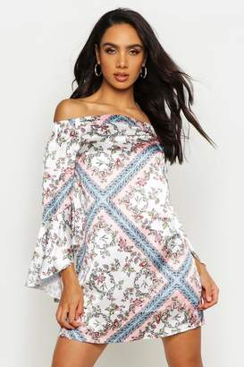 boohoo Off The Shoulder Frill Sleeve Swing Dress