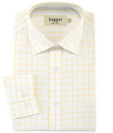 Haggar Double Windowpane Poplin Dress Shirt - Regular Fit, Point Collar