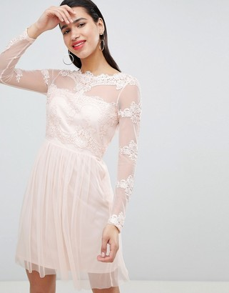 Vila mesh mini dress with lace inserts in pink