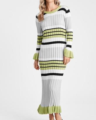Express En Saison Striped Long Sleeve Knit Midi Dress
