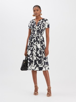 Oscar de la Renta Graphic Floral Jacquard Dress