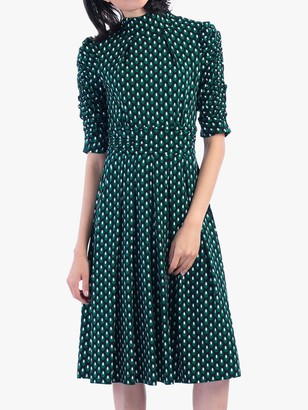 Jolie Moi Geometric Print Turtleneck Dress, Green