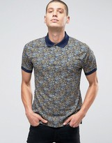 Pretty Green Polo Shirt With Paisley Print In Slim Fit Navy