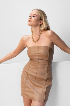 Nasty Gal Womens Faux Leather Let Me Go Strapless Mini Dress - Brown - 6