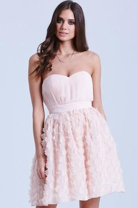 Little Mistress Nude Floral Applique Prom Dress