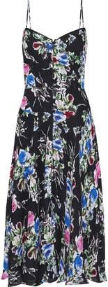 Milly Emily Button-detailed Floral-print Silk-chiffon Slip Dress