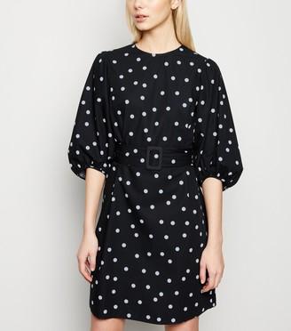 New Look Spot Puff Sleeve Belted Poplin Dress