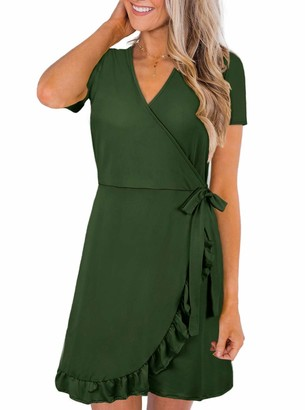 Moyabo Ladies Casual Dress Work Dress for Women Short Sleeve V Neck Casual Midi Dress Green Small