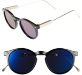 Spitfire Women's Flex Round Sunglasses - Black/ Gold / Blue Mirror