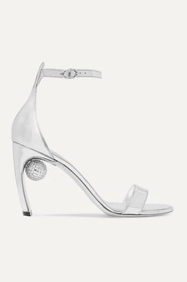 Nicholas Kirkwood Maeva Crystal-embellished Metallic Leather Sandals - Silver