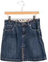 Burberry Girls' Denim Slit-Accented Skirt