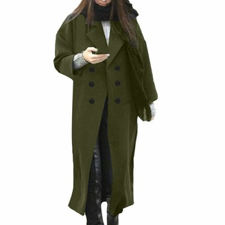 KaloryWee Womens Winter Lapel Wool Coat Button Trench Jacket Loose Plus Overcoat Outwear Green