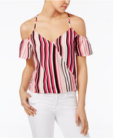 Lily Black Juniors' Off-The-Shoulder Striped Top, Only at Macy's
