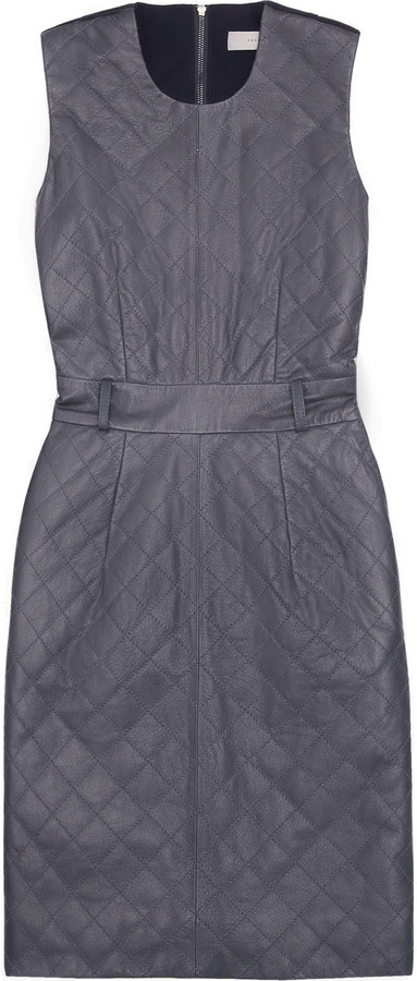 Preen Line Diamond leather and crepe dress