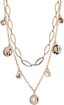 Halogen Two Tier Medallion Charm Necklace