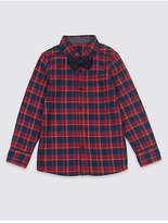 Marks and Spencer Pure Cotton Checked Shirt with Bow Tie (3 Months - 6 Years)