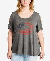 Jessica Simpson Trendy Plus Size Flag Graphic Cold-Shoulder T-Shirt
