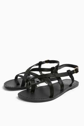 Topshop HICCUP Black Leather Sandals