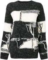 Sjyp stripe distressed sweater