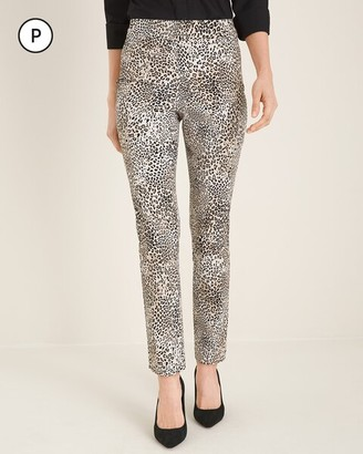 So Slimming Petite Brigitte Animal-Print Slim Ankle Pants