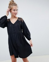 Asos Design DESIGN v neck button through mini smock dress with long sleeves and lace inserts