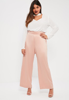 Missguided Plus Size Pink Satin Wide Leg Trousers