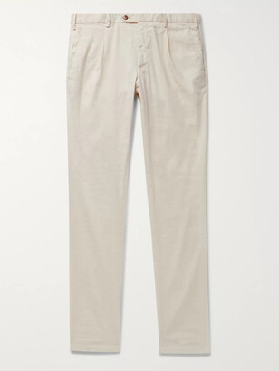 THOM SWEENEY - Tapered Pleated Linen-Blend Trousers - Men - Neutrals