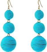 Kenneth Jay Lane Women's Triple Graduated Thread Wrapped Balls Fishhook Top Ear Earrings Earring