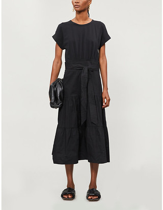 Veronica Beard Tie-belt stretch-cotton midi dress