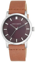 Vince Camuto Stainless Steel Tan Leather Strap Watch