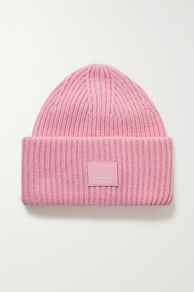 Acne Studios Appliqued Ribbed Wool Beanie - Pink