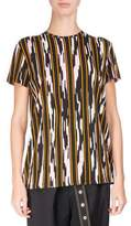 Proenza Schouler Ikat-Striped Cotton T-Shirt, Multi Pattern