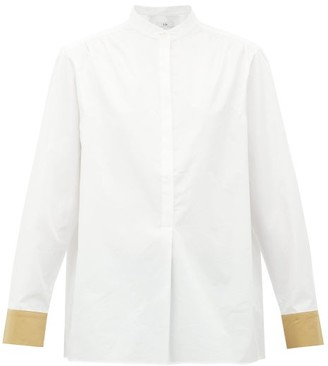 Tibi Contrast-cuff Cotton Shirt - Beige White