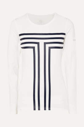 Tory Sport Printed Stretch-jersey And Mesh Top - White