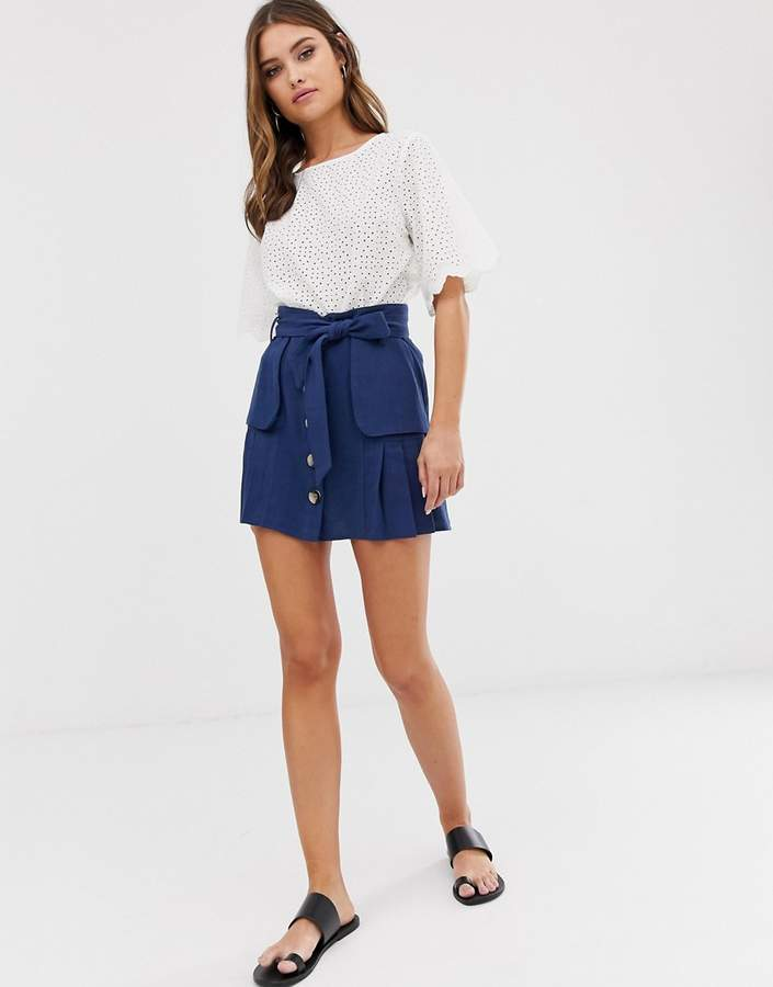 bf381628d Pleated Linen Skirt - ShopStyle
