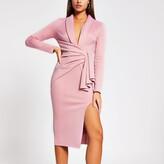 River Island Womens Pink plunge midi bodycon dress
