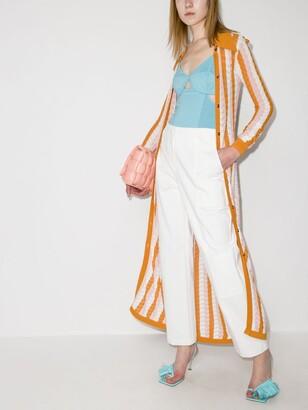 Dodo Bar Or Orange Dar Striped Pointelle Knit Shirt Dress