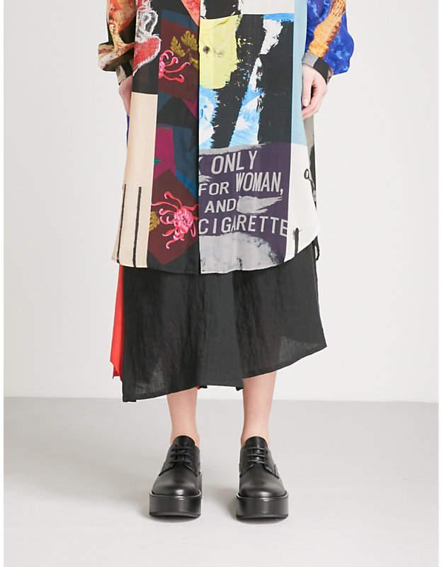 Yohji Yamamoto Leather-insert linen skirt