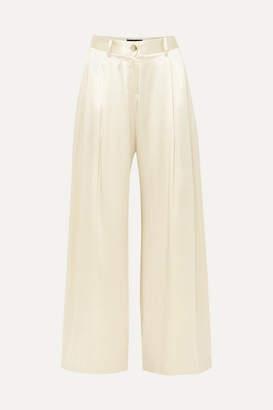 Nili Lotan Brixton Silk-satin Wide-leg Pants - Ivory