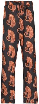 Desmond & Dempsey Sansindo tiger-print pyjama trousers