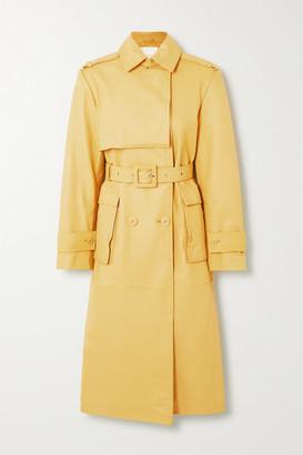 REMAIN Birger Christensen Pirello Leather Trench Coat - Pastel yellow