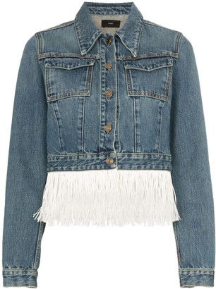 Alanui Hawaii Map-embroidered fringed denim jacket