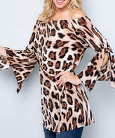 Acting Pro Women's Tunics TAUPE - Taupe Leopard Bell-Sleeve Off-Shoulder Tunic - Women