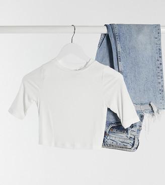 ASOS DESIGN Petite slim fit crop t-shirt in sexy sheer rib in white