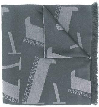 Emporio Armani Monogram Raw-Edge Wool Scarf