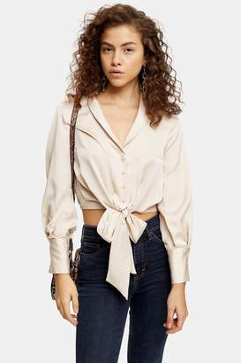 Topshop Womens Petite Satin Knot Front Blouse - Cream