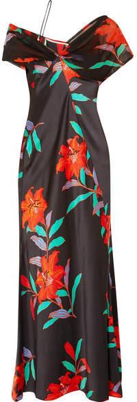 Diane von Furstenberg Off-the-shoulder Floral-print Silk Crepe De Chine And Tulle Gown - Black