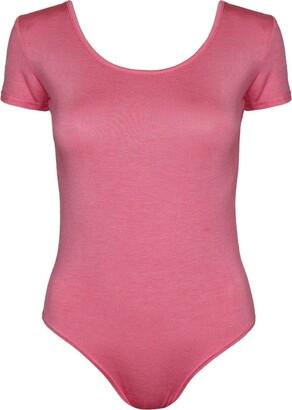 Purple Hanger Womens Plain Short Cap Sleeve Ladies Popper Stud Fastening Round Scoop Neckline Stretch Bodysuit Leotard T-Shirt Top Navy Blue Size 8 - 10