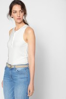 7 For All Mankind Ribbed Henley Tank In White