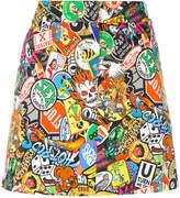 Moschino patch print mini skirt